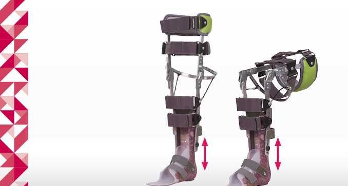 ERH 67 Splint-strap lower limb apparatus with sandal, KAFO Neuro series/ przegub kolana Lock Lever, foot AFO/DAFO series