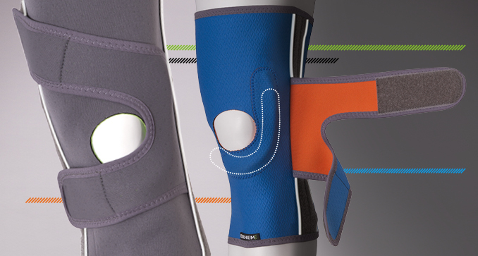 ERH 35/F/U Knee stabilizing brace with slant belts, REHAproactive series